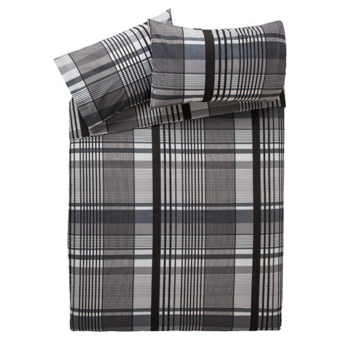 Tesco Check Print Double Duvet Cover Set, Grey