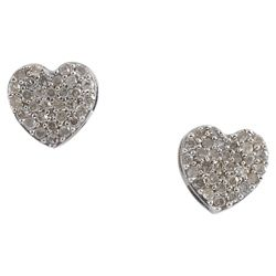9 ct White Gold Diamond Full Heart Stud Earrings