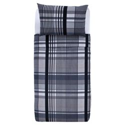 Tesco Check Print Single Duvet Set, Grey