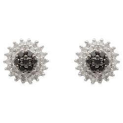 9ct White Gold Black And White Diamond Cluster Studs