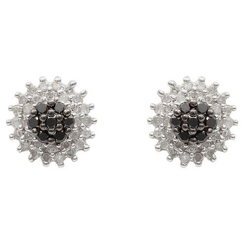 9ct White Gold Black And White Diamond Cluster Studs