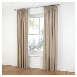 Tesco Plain Canvas Unlined Pencil Pleat Curtains W229xL229cm (90x90