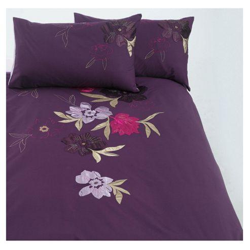 buy tesco stitched floral embroidered duvet set double. Black Bedroom Furniture Sets. Home Design Ideas