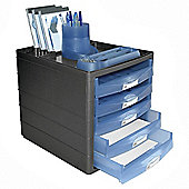 Pierre Henry Horizon Open-Draw Desktop Organiser Blue