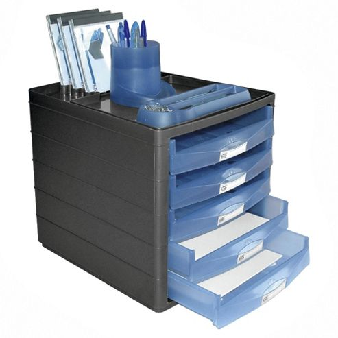 Pierre Henry Horizon Open-Draw Desktop Organiser, Blue