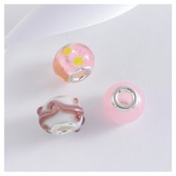 Sterling Silver Pink Glass Charm 3 Pack