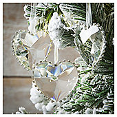 Weiste Glass Crystal Hearts Christmas Tree Decorations, 3 pack