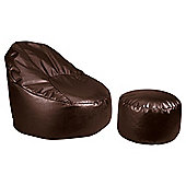 Faux Leather Oval Chair & Footstool, Chocolate