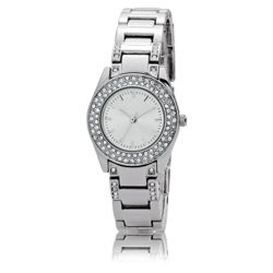 F&F Ladies Diamante Round Face Watch