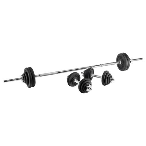 York Fitness 50kg Cast Iron Barbell & Dumbell Set