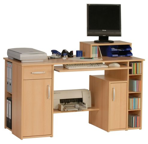 Buy maja seattle beech computer desk from our office desks tables range tesco - Tesco office desk ...