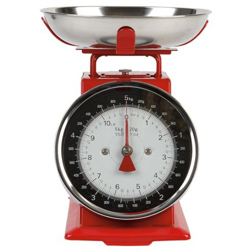 Tesco Enamel 5kg Weighing Scales, Red