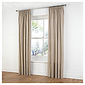 "Tesco Plain Canvas Unlined Pencil Pleat Curtains W117xL137cm (46x54""), Taupe"