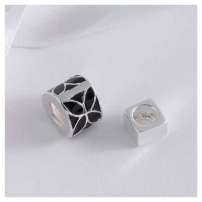 Sterling Silver Set Of 2 Black Enamel Bead Charms