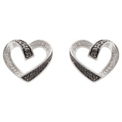 9ct White Gold Black And White Diamond Heart Earrings