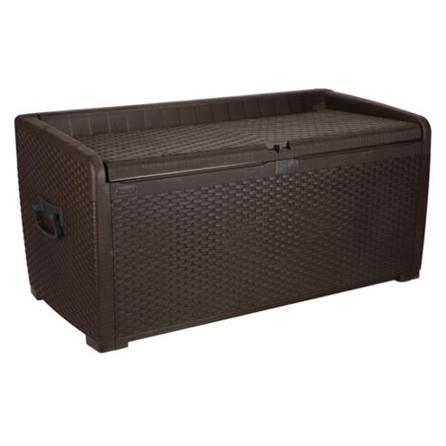 buy keter rattan effect plastic storage box with seat from. Black Bedroom Furniture Sets. Home Design Ideas