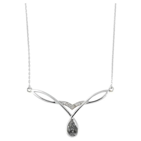 9ct White Gold 10pt Black & White Diamond Necklet
