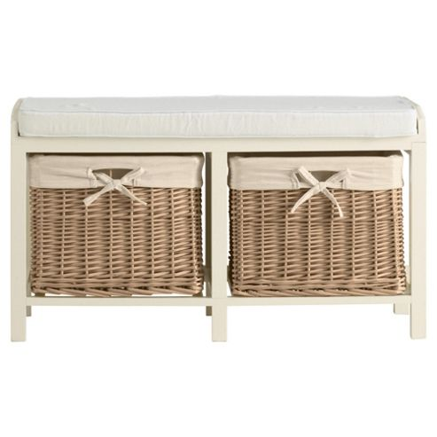 Buy Storage Bench With Wicker Baskets Cream From Our Crates Amp Boxes Range Tesco Com