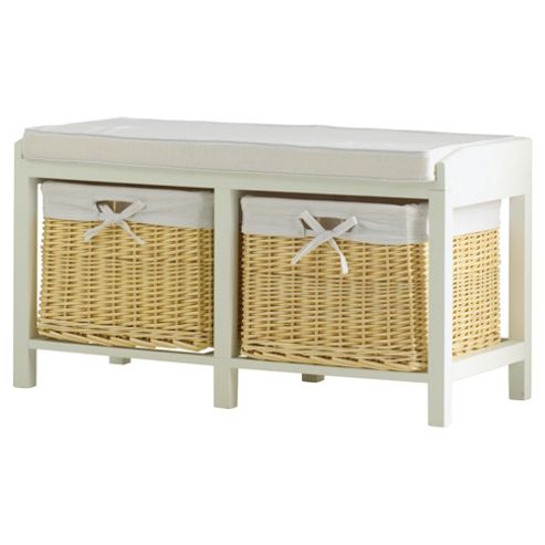 buy storage bench with wicker baskets cream from our shoe. Black Bedroom Furniture Sets. Home Design Ideas