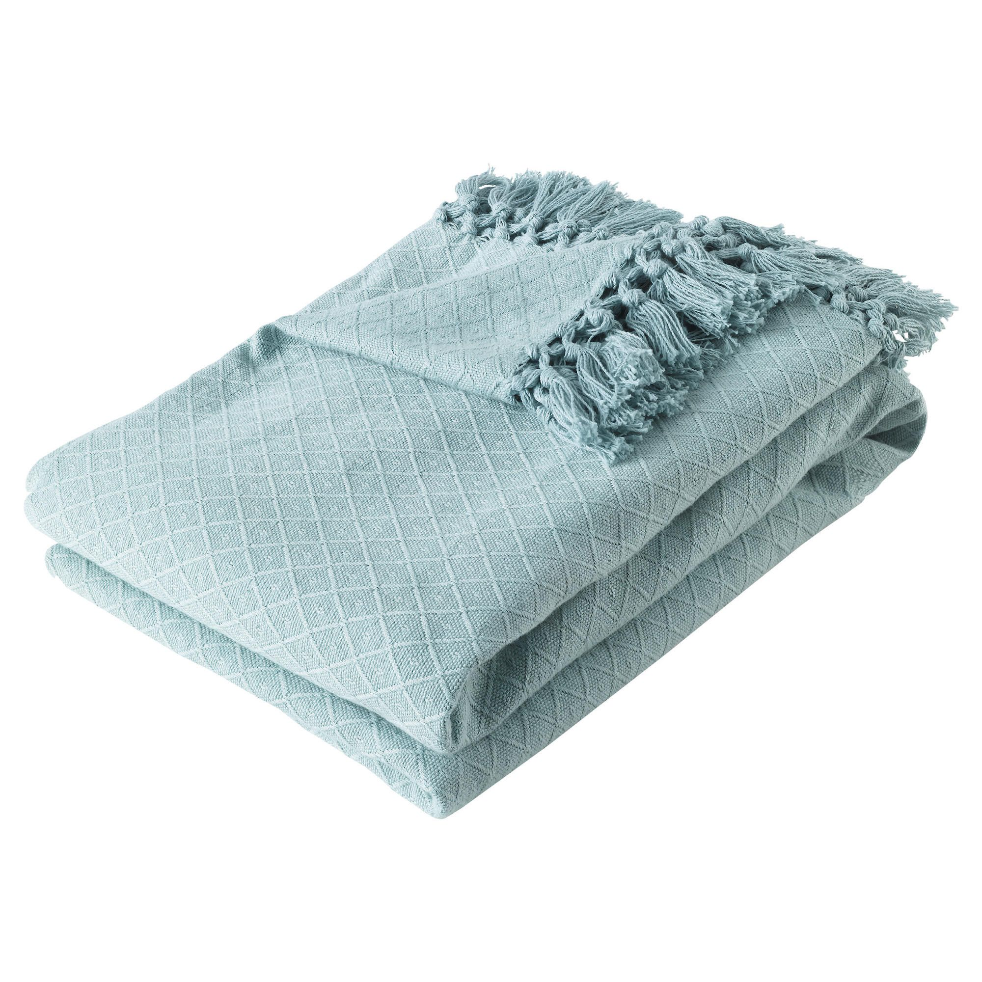 F&F Home Diamond Cotton Throw - Duck Egg