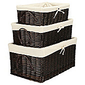 Tesco Wicker Baskets Lined, Brown