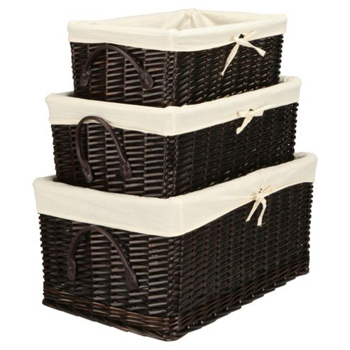 Tesco Wicker Baskets Lined with Lid, Brown