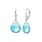 QP Jewellers 17.0ct Blue Topaz Star Drop Earrings in 14K White Gold
