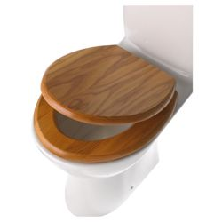 Slow Close Toilet Seat, Solid Oak