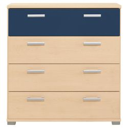 Fresno 4 Drawer Chest, Blue & Maple-Effect