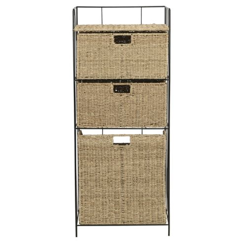 Tesco Seagrass Laundry Basket with 2 Drawers