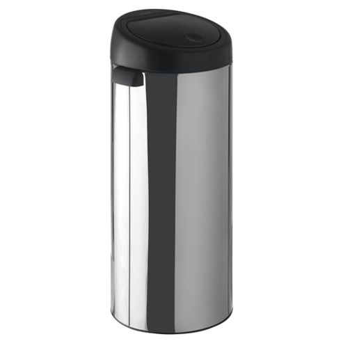 Brabantia 30L brilliant steel touch bin with black lid
