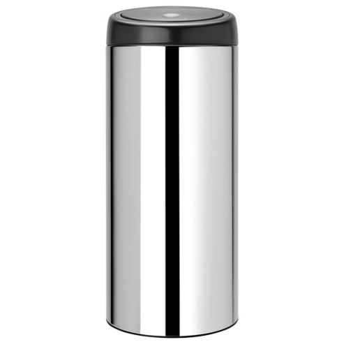 Brabantia 30L Bin - Brilliants Steel - Black Soft Touch Lid