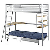 Mika High Sleeper With Single Futon Frame, Silver Finish
