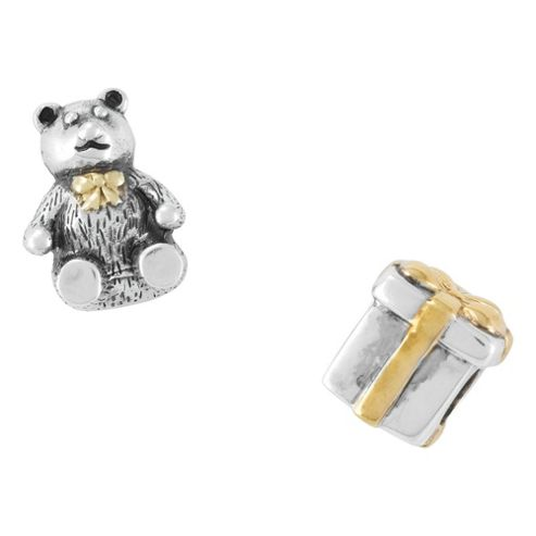 Silver/Gold Plated Present & Teddy Bead Set