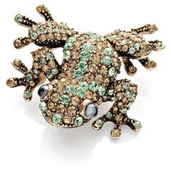 Pave Gold Tone Crystal Set Frog Brooch