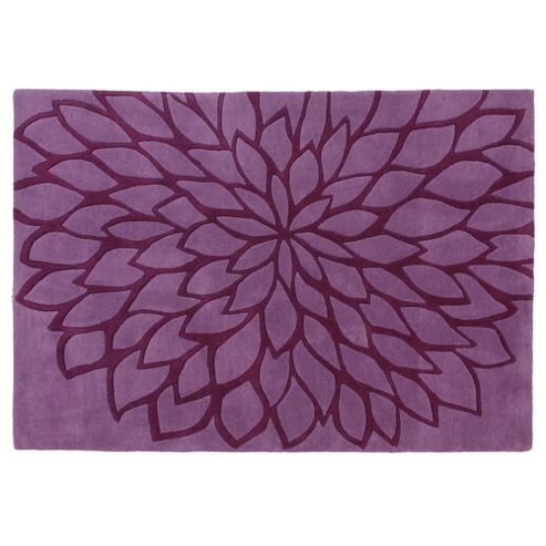 Tesco Rugs Large Flower Rug, Plum 120X170Cm