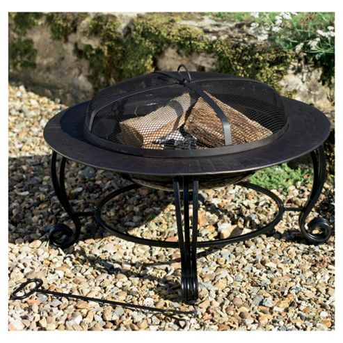 Black Round Fire Pit with Pattern Surround