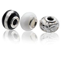 Sterling Silver Black Glass Charm 3 Pack