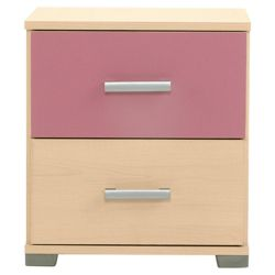 Fresno Bedside Chest, Pink & Maple-Effect