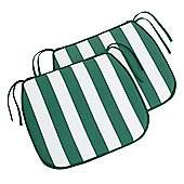 Tesco Striped Seat Pad, Green & White 6 Pack