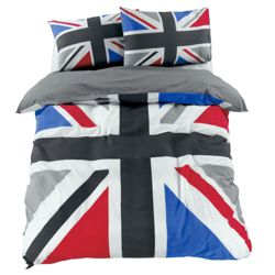 Tesco Union Jack Print Double, Black & Grey