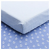 Tesco Whale Toddler Bed Sheets, 2Pk Sheet