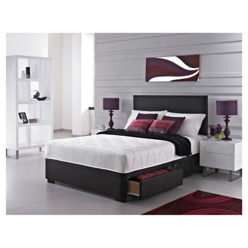 buy silentnight maxima bed black faux leather 4 drawer