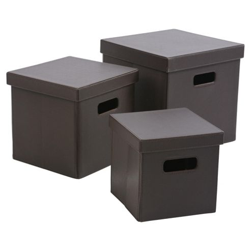 Tesco Leather Effect Collapsible Boxes, Set Of 3