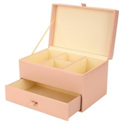 Pink Leather Effect Medium Jewellery Box