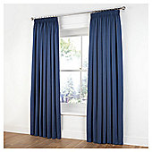 Tesco Plain Canvas Unlined Pencil Pleat Curtains - Petrol blue