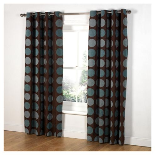 Tesco Chenille Circles Lined Eyelet Curtains W163xL229cm (64x90
