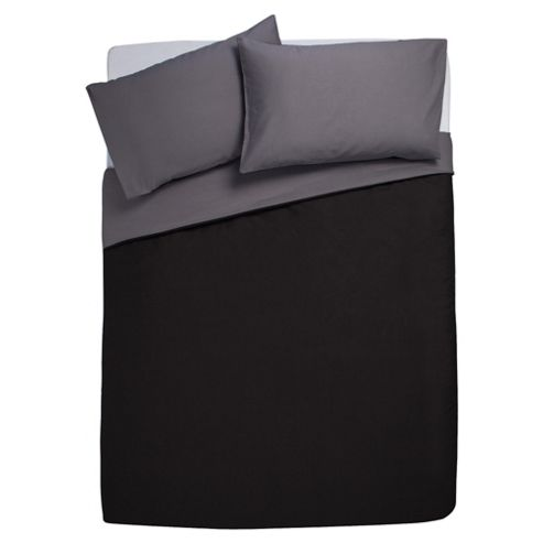 Tesco Reversible Duvet Set Double, Black & Charcoal