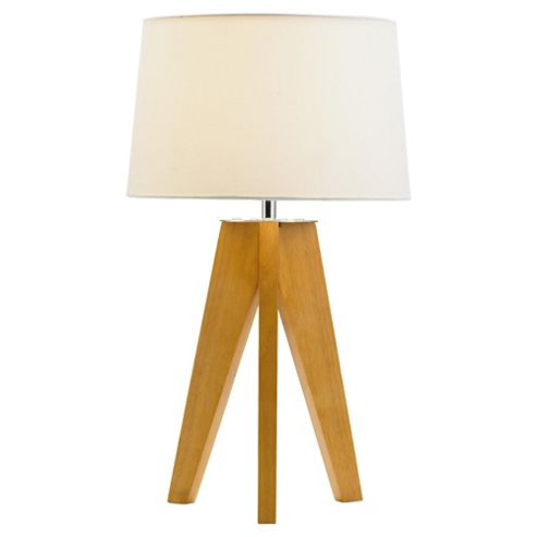 Buy Tesco Lighting Tripod Wooden Table Lamp From Our Table