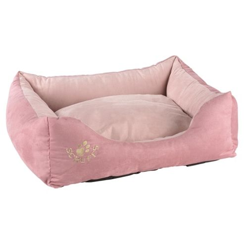 Scruffs faux suede pet bed medium pink
